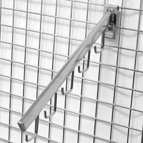 Торговое оборудование: решётки - Держатель с 5-ю крючками, наклонный