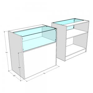 Прилавок-витрина с выставочной частью - Эконом-вариант