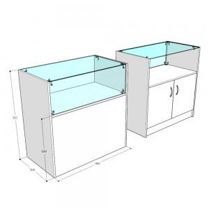 Прилавок-витрина с выставочной частью - Сборка на хромированный крепёж