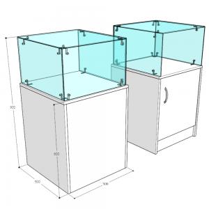 Прилавок-аквариум узкий - С выставочной частью