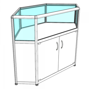 Прилавок-аквариум музейный - Внутренний, С хромированными углами