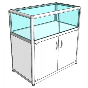 Прилавок музейный со стеклянным аквариумом - Закрытый, С хромированными углами