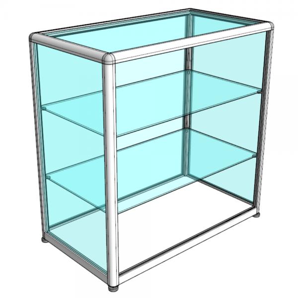 Прилавок музейный стеклянный открытый - Без цоколя, С хромированными углами